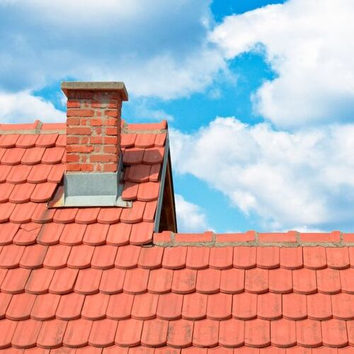 Clay Roof Tiles and Chimney.