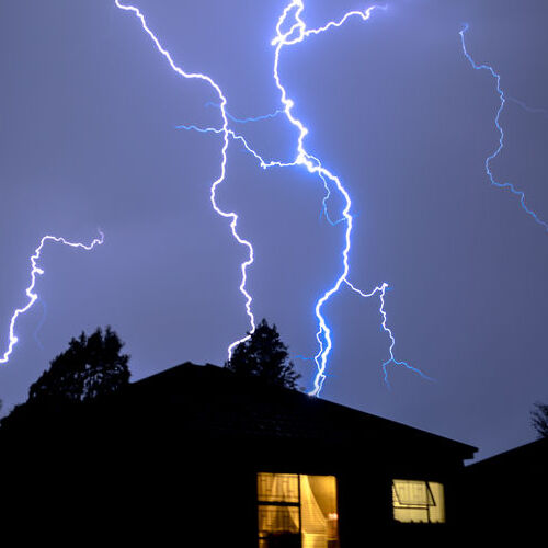 Lightning Strikes a Rooftop