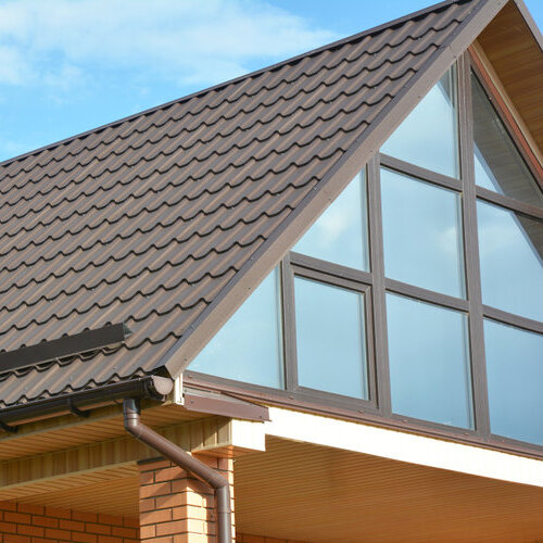 Home with metal roof shingles.