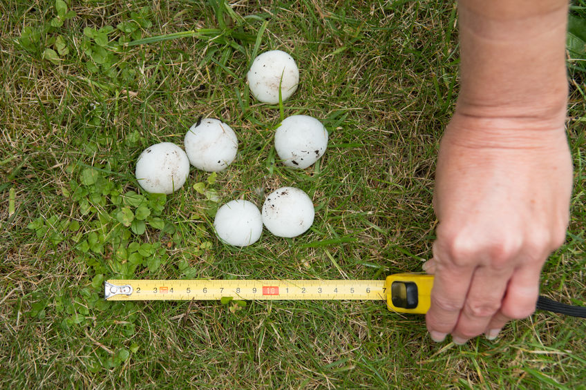 size of hail needed for hail damage repair